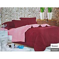 Евро однотонное постельное белье Фланель - Красно-розовое