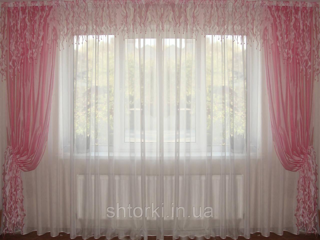 Ламбрекен  Водопад розовый с шторами
