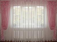 Ламбрекен  Водопад розовый с шторами, фото 1