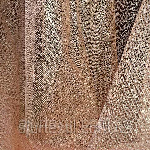 Тюль сетка персик