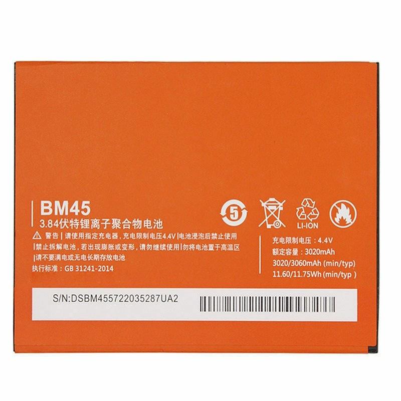 Аккумулятор (Батарея) для Xiaomi Redmi Note 2 BM45 (3020 mAh) Оригинал