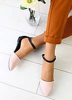 Босоножки женские, черные задник и ремешок, материал - натуральная кожа, FS-3056-5. Пудра
