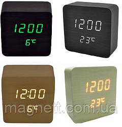 Электронные часы VST-872 в деревянном корпусе с температурой