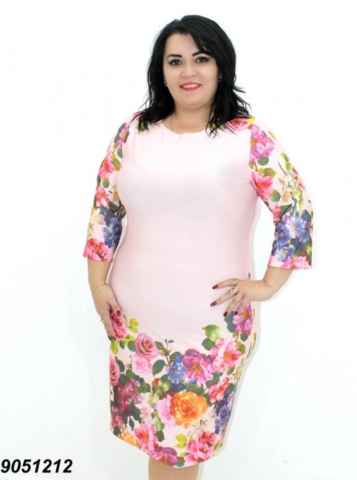 Легкое платье из трикотажа-масло, с рукавом 3/4 в размерах 50,52,54,56