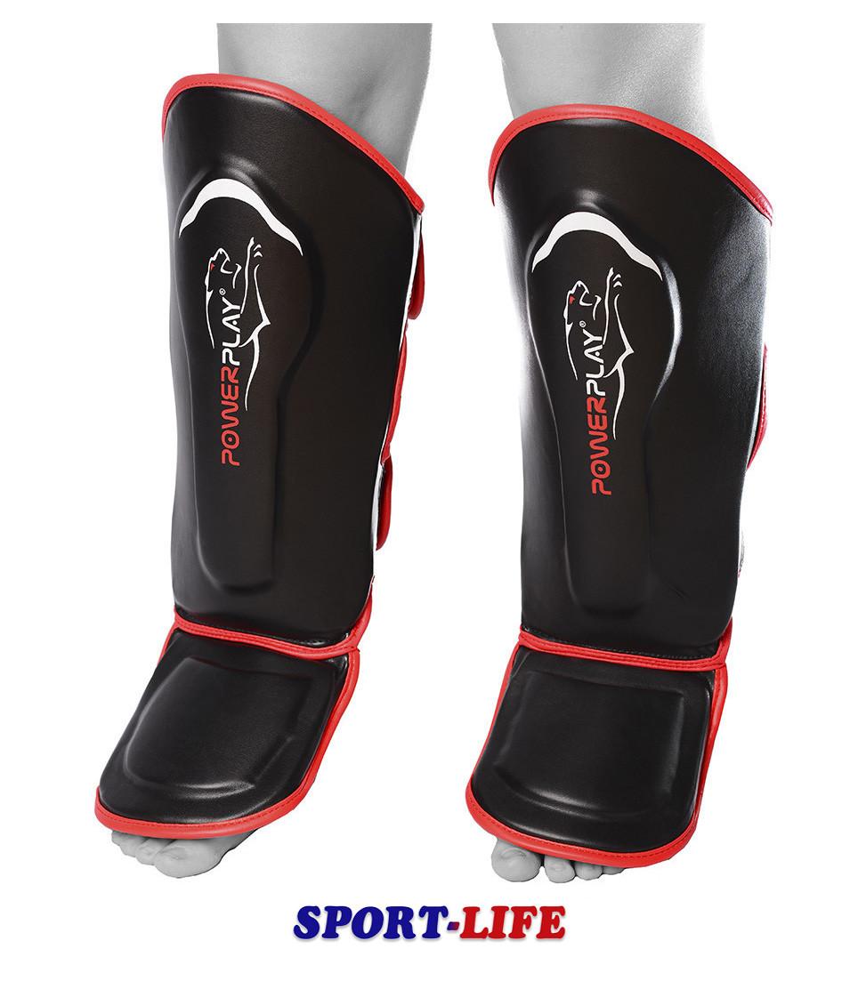 Защита голени и стопы PowerPlay 3052 Черно-красная, Черно-синяя