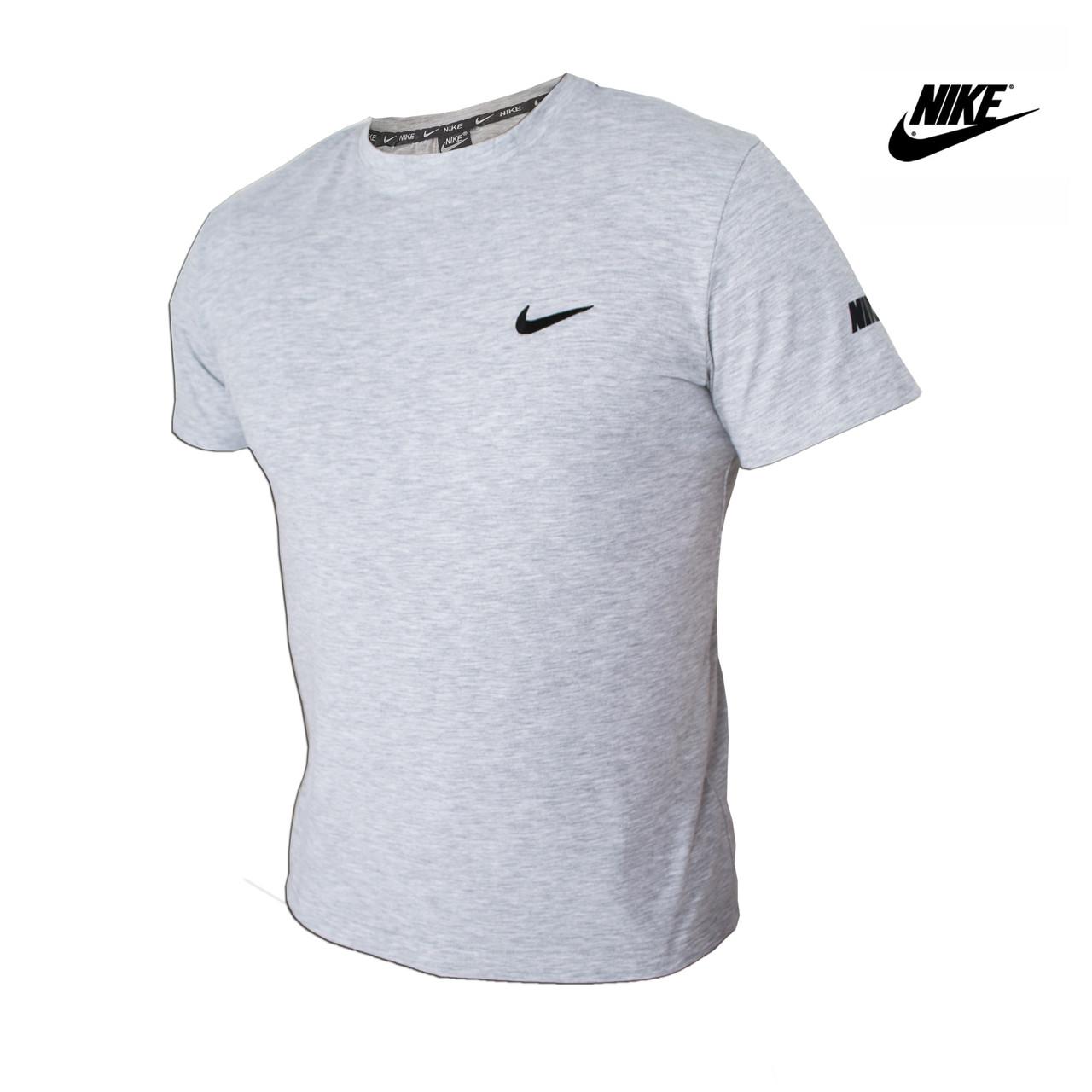 5d1dc3410f413 Футболка мужская хлопковая Nike (Найк) - серая, спортивная, с логотипом XL (