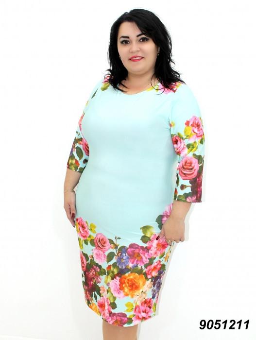 Летнее платье из трикотажа-масло, нежно мятного цвета 50,52,54,56