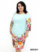 Летнее платье из трикотажа-масло, нежно мятного цвета 50,52,54,56, фото 1
