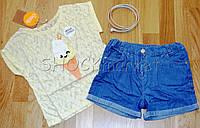 Футболка и шорты джинс для девочки р.110,122,128,134