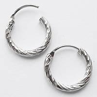 Серьги кольца с насечками под серебро, диаметр 10 мм. Бижутерия. , фото 1