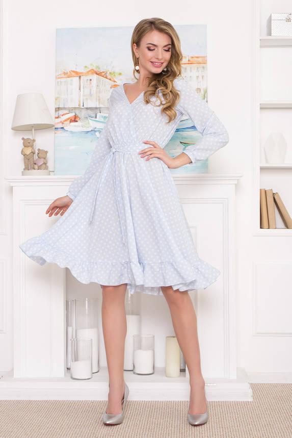 Платье миди голубое в горошек с ложным запахом , фото 2