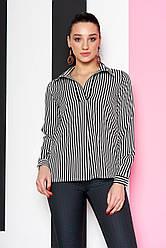 """Женская легкая блузка-рубашка с длинным рукавом в полоску """"Дженифер"""" 10 черная полоса"""