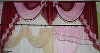 Ламбрекен на карниз 3м. №28 Бордовый с розовым