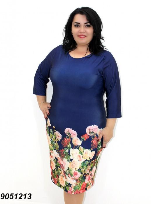 Летнее платье из трикотажа-масло, с рукавом 3/4 в размерах 50,52,54,56