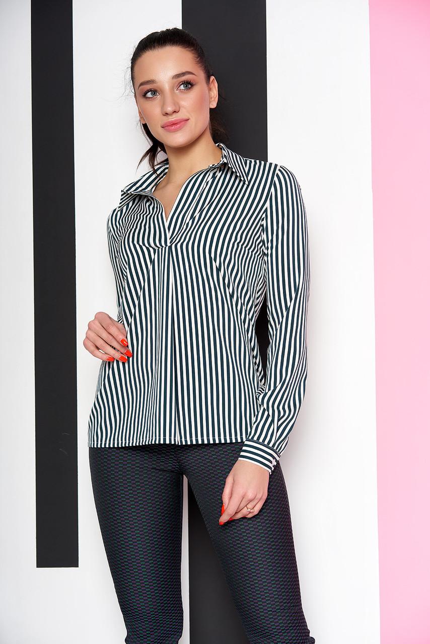 """Женская свободная блузка-рубашка в полоску, длинный рукав """"Дженифер"""" 12 темно-зеленая полоса"""