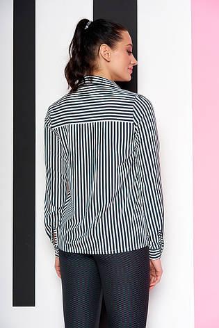 """Женская свободная блузка-рубашка в полоску, длинный рукав """"Дженифер"""" 12 темно-зеленая полоса, фото 2"""