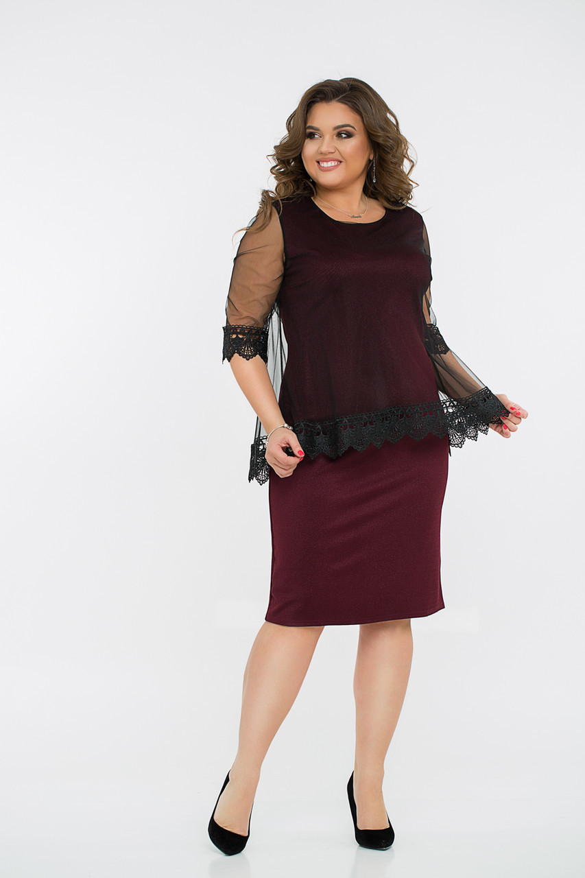 Платье  LiLove 8- 1136 54-56 бордовый