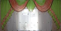 Ламбрекен на карниз 3м. №28 зеленый с розовым