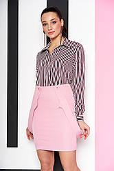 """Стильная свободная полосатая блузка-рубашка с длинным рукавом """"Дженифер"""" 11 бордовая полоса"""