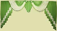 Ламбрекен на карниз 3м. №28 Оливковый с белым
