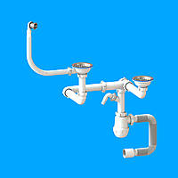 Сифон «Лотос-Мойка BIG DUPLEX — CERAMICS P1 для спаренных разноуровневых керамических моек