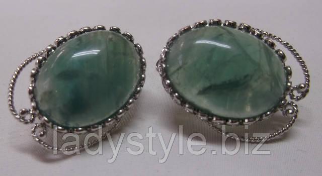украшения серьги кольцо купить натуральный флюорит сережки