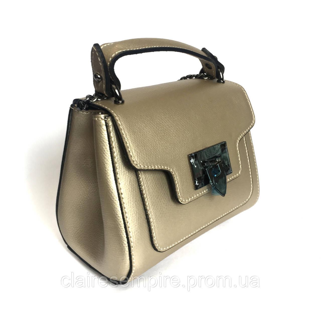 Маленькая сумочка, кожа, Италия, бледное золото