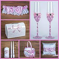 Свадебный набор аксессуаров розового цвета (арт. SN-103)