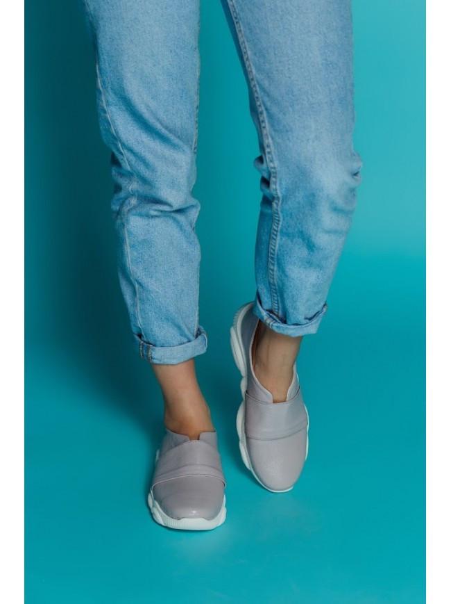 Женские кожаные слипоны лавандового цвета TED