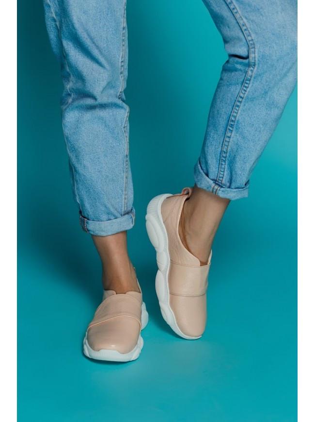 Женские кожаные слипоны пудрового цвета TED