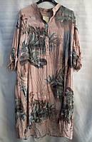 Рубашка-платье с цветочным принтом женская батальная (ПОШТУЧНО), фото 1