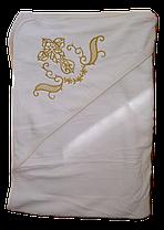 Белая крыжма полотенце для крещения (купания) малышей 0,90х1,0 м (золото)
