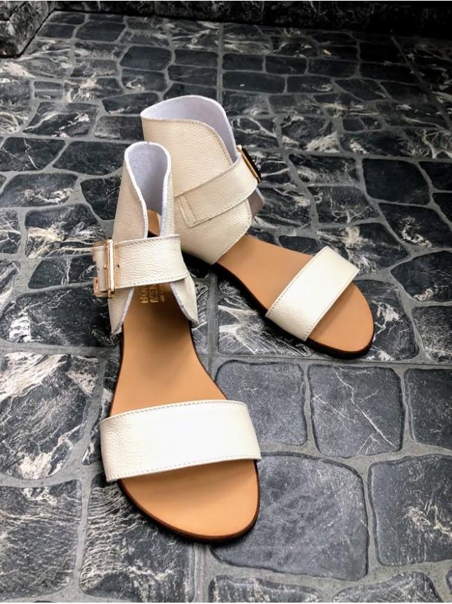 Женские сандалии из натуральной кожи бежевого цвета BREAK-IN BEIGE LEATHER