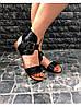 Женские сандалии из натуральной кожи черного цвета BREAK-IN BLACK LEATHER, фото 3