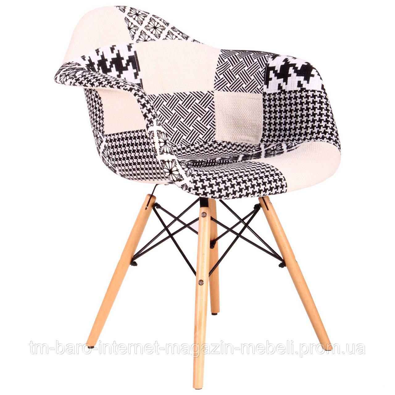 Кресло Salex FB Wood Patchwork черно-белый