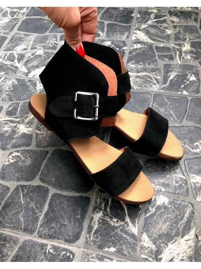 Женские сандалии из натуральной замши черного цвета BREAK-IN BLACK SUEDE