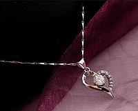 Серебряный кулон в виде сердца с белым камнем стерлинговое серебро 925 проба , фото 1