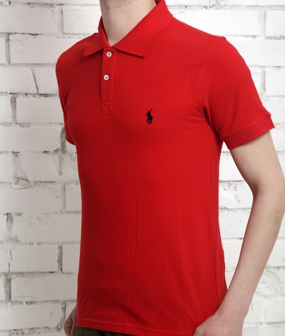Футболка поло мужская Ральф Лоурен демисезонная красная (реплика) T-Shirt Ralph Lauren Red