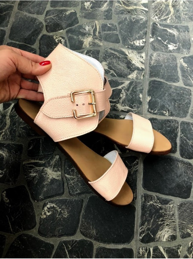 Женские сандалии из натуральной кожи розового цвета BREAK-IN POWDER LEATHER