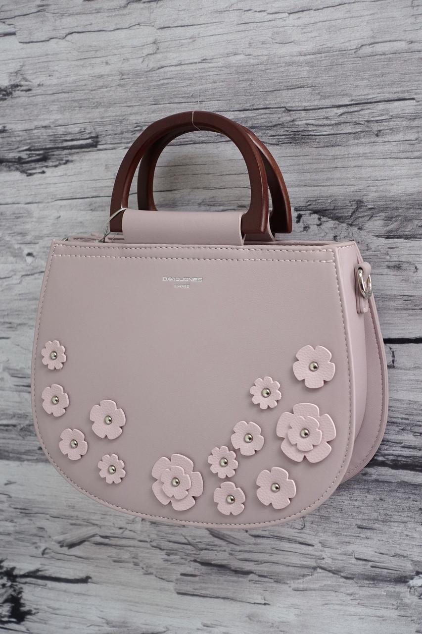 Нежная сумочка в цветочек с деревянными ручками David Jones 5166 pale purple