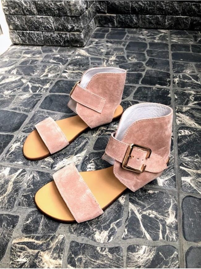 Женские сандалии из натуральной замши пудрового цвета BREAK-IN POWDER SUEDE