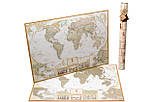 Скретч карта світу My Antique Map ENG Постер з прапорами у подарунок! Найдетальніша скретч карта в античному стилі, фото 2