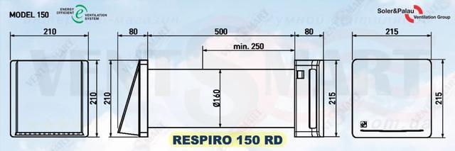 Солер Палау РЕСПИРО 150 РД - размеры рекуперативного проветривателя
