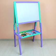 Мольберт детский разборной двухсторонний окрашенный магнитный для рисования мелом и маркерами, фото 2