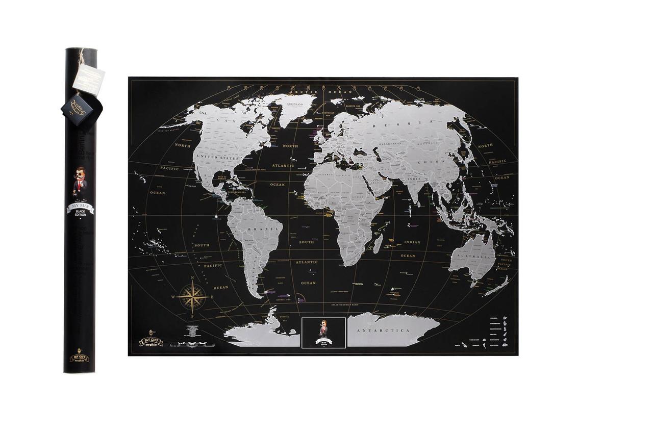Черная скретч карта мира My Map Black Edition серебристый скретч-слой + Постер с флагами в подарок!