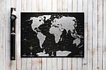 Черная скретч карта мира My Map Black Edition серебристый скретч-слой + Постер с флагами в подарок!, фото 2