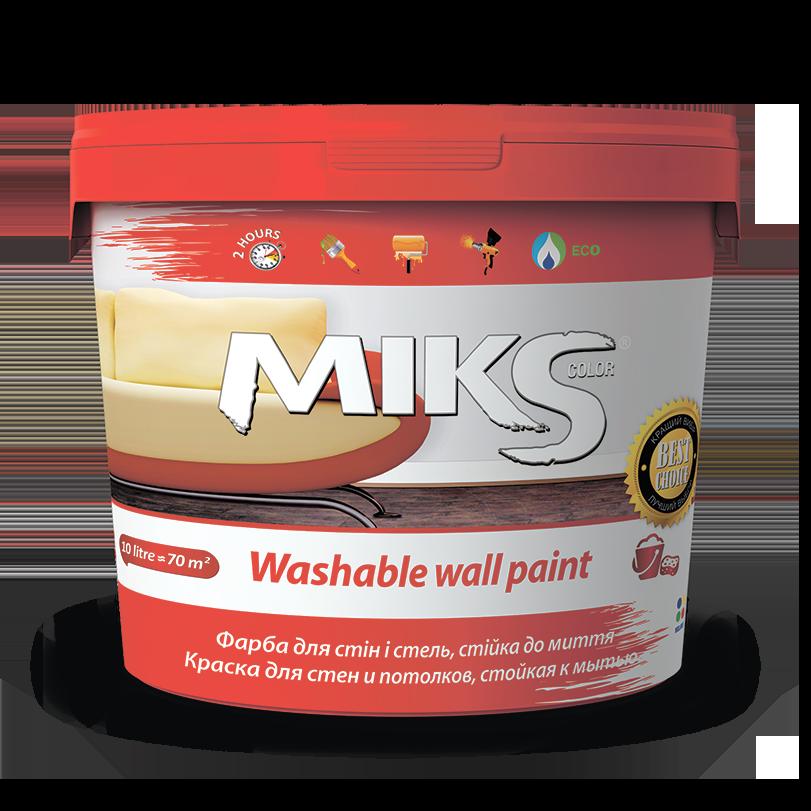 Фарба для стін і стель стійка до миття МІКС 14 кг