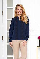 """Нарядная легкая блузка с кружевом по переду и длинным рукавом """"AZ-123"""" темно-синяя"""