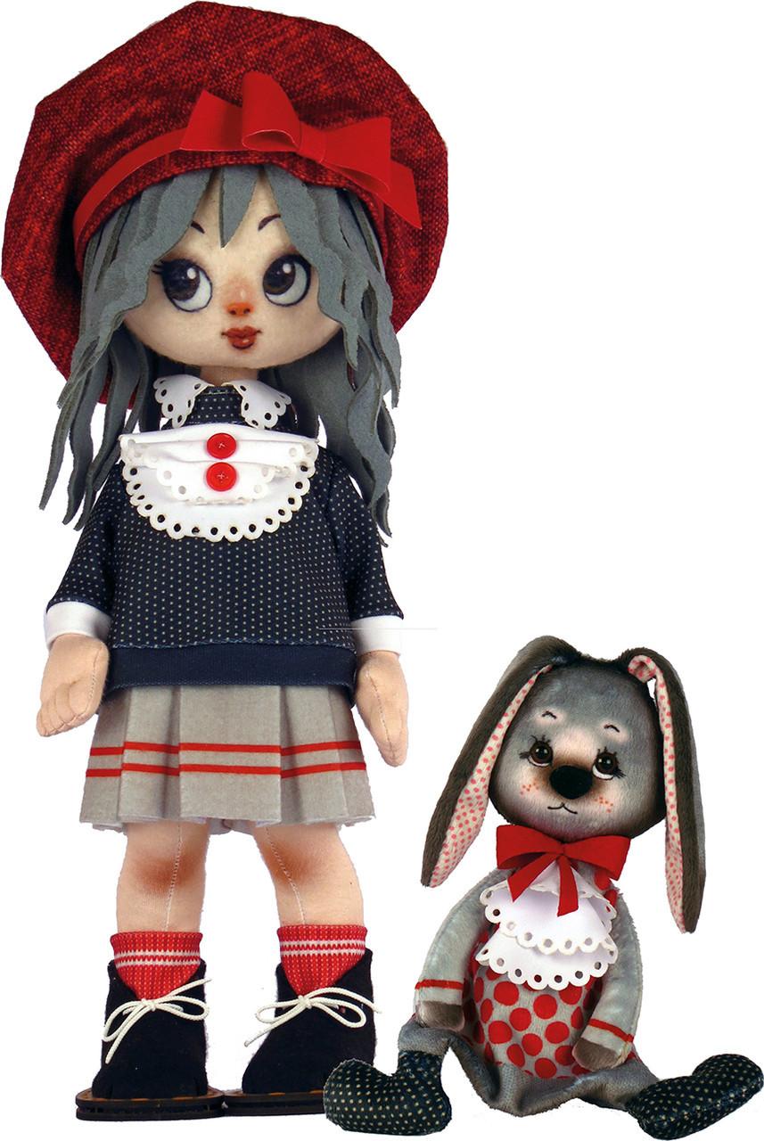 Набор для шитья Новая Слобода Мягкая игрушка 45см Девочка с зайкой М1073