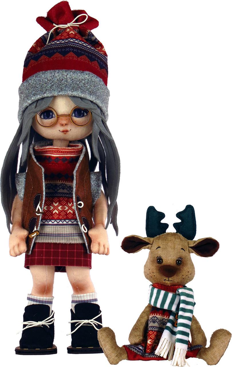 Набор для шитья Новая Слобода Мягкая игрушка 45см Девочка с лосиком М1074